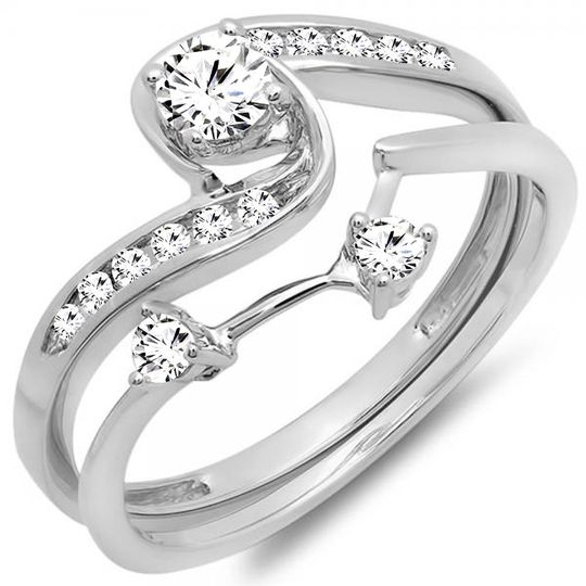 White gold round diamond ladies swirl bridal engagement ring