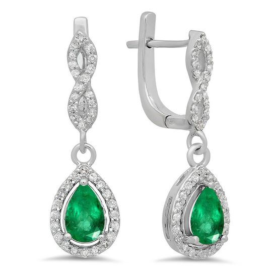 White gold pear cut emerald dangling earrings