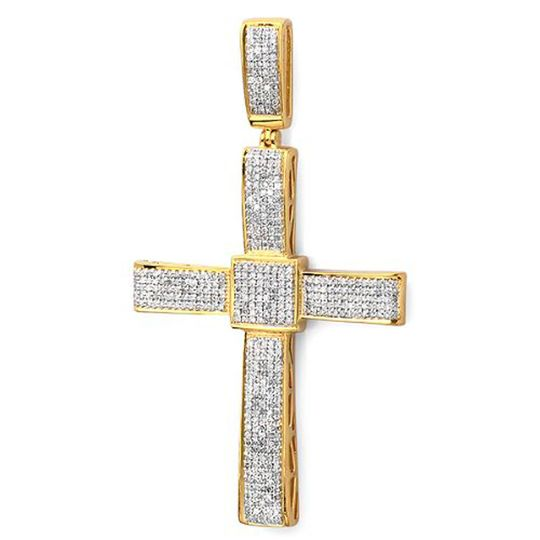 Yellow gold plated sterling religious cross pendant