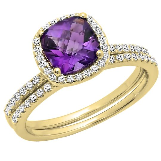 Yellow gold cushion cut amethyst & round cut white diamond engagement ring