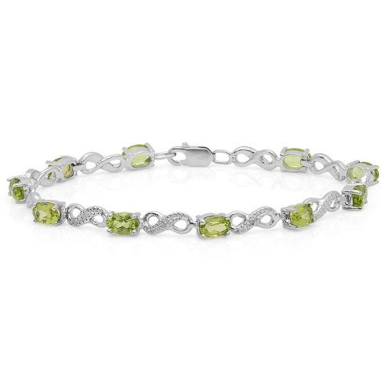 Peridot infinity link tennis bracelet