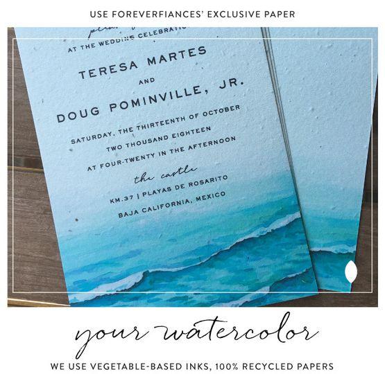Custom beach wedding cards