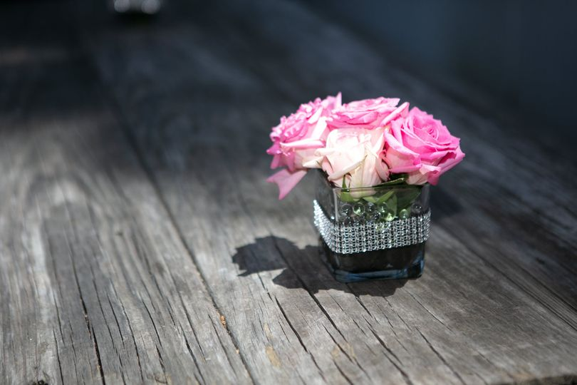 Lovely pink on wood tables