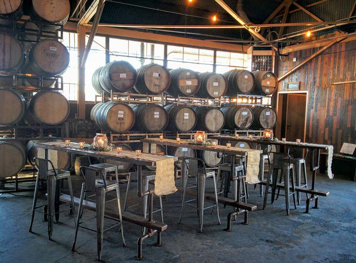 Wood barrels with highboys