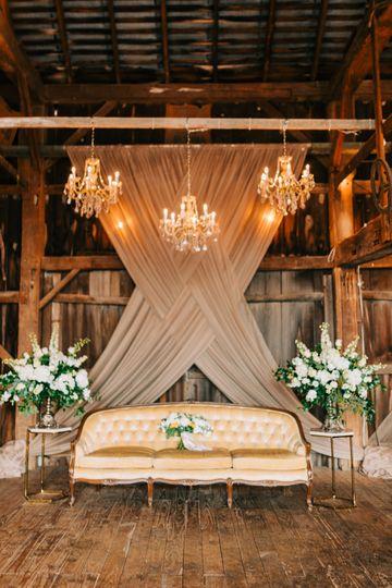 Inside the reception barn