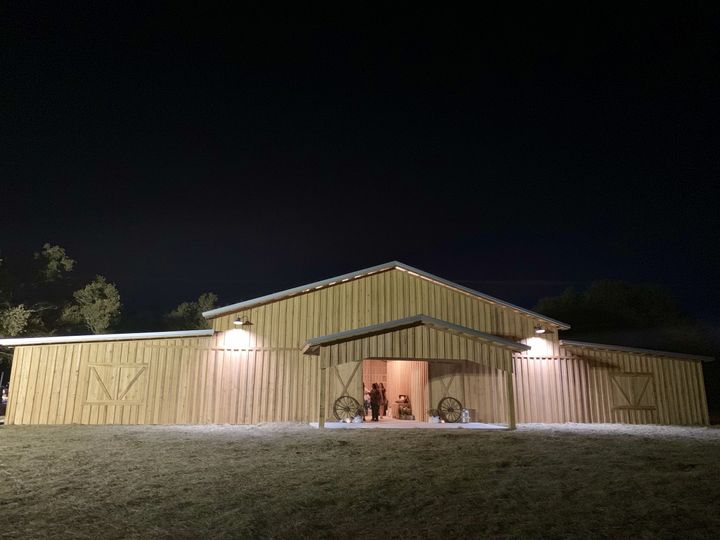 Front of barn at night