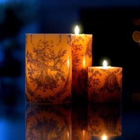 Blue Toile Imageglow® Lantern Style Candle