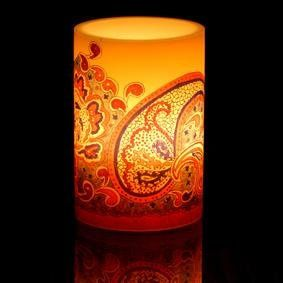 Bohemia Yellow Paisley Imageglow® Lantern Style Candle