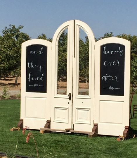 Antique Cathedral Entry Doors with Giant Chalkboards @sweetlifevintagerentals