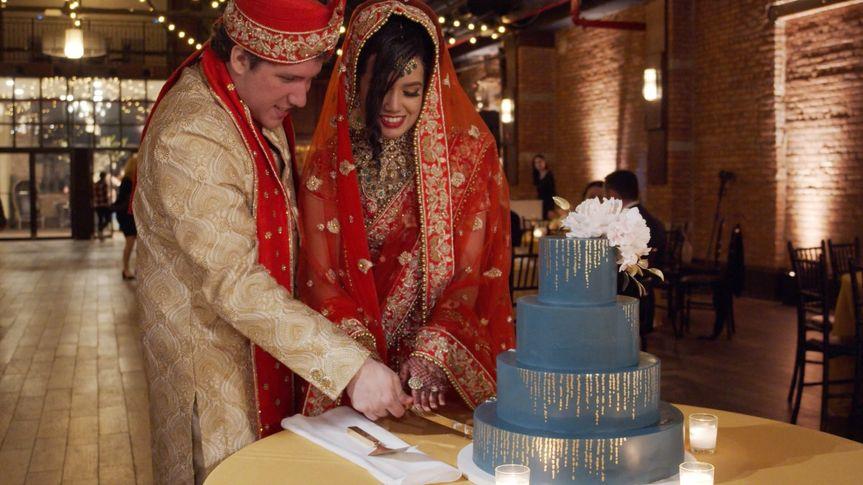 Blue-iced wedding cake
