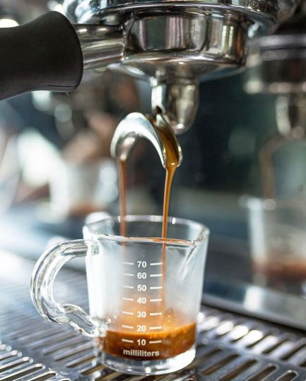 Espresso shots in the making