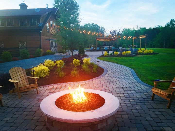Barn pathway and firepit