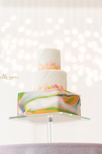 Three tier colored wedding cake