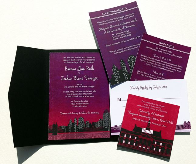 This invitations showcases the romantic beauty of Cincinnati, OH and specifically the University of...
