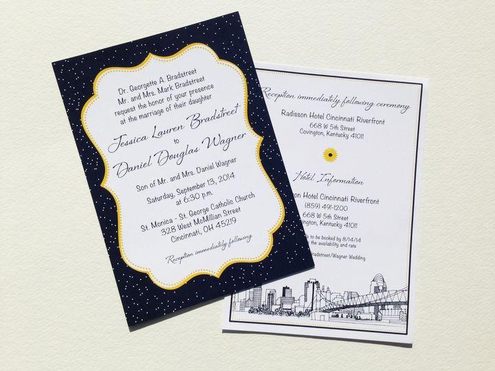 An invitation showcasing Cincinnati, OH under the stars
