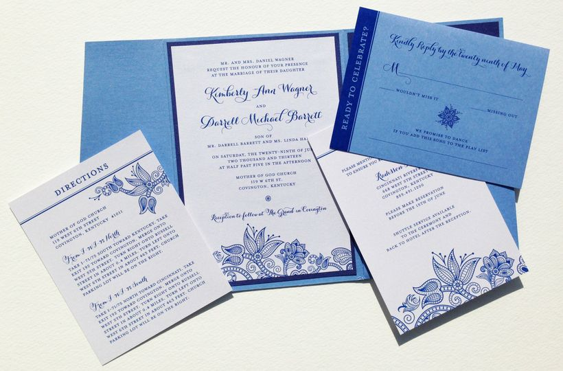 Whimsical Wedding Lace Invitation, Directions, Reception and RSVP cards