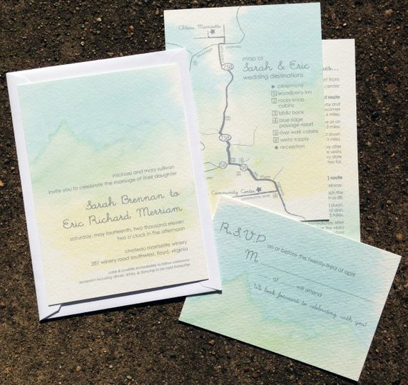 Majestic Mountains watercolored wedding invitations, custom map and RSVP