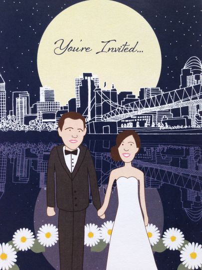 Uniquely Yours, custom drawn bride and groom