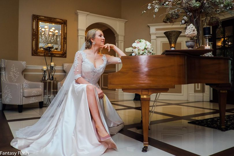 Bride by the piano