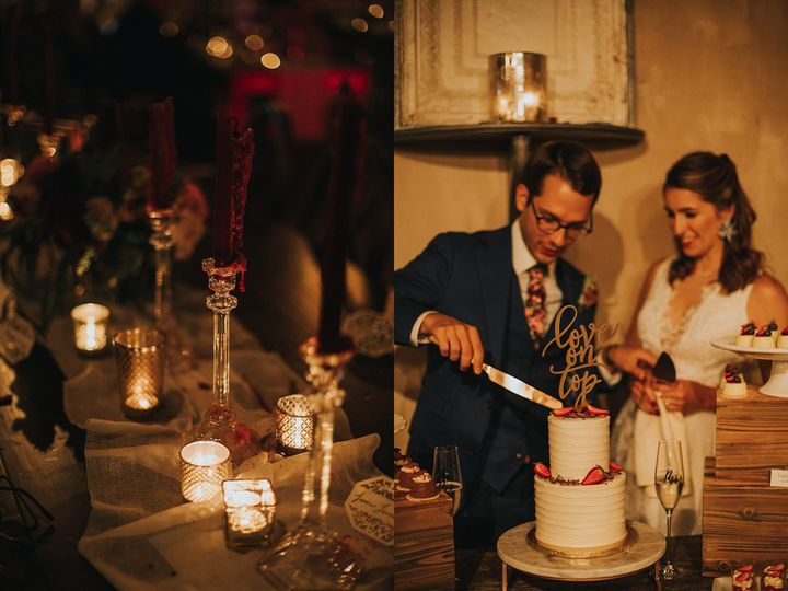 Candlelight and cake cutting