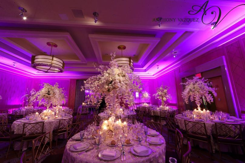 Table set-up with pink lighting