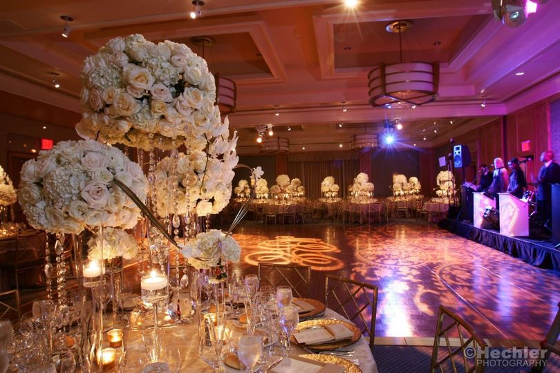 Elaborate centerpiece with flower and candle decoration