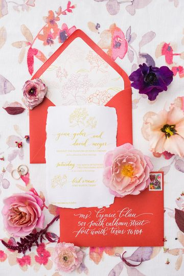 Colorful floral-themed invitation