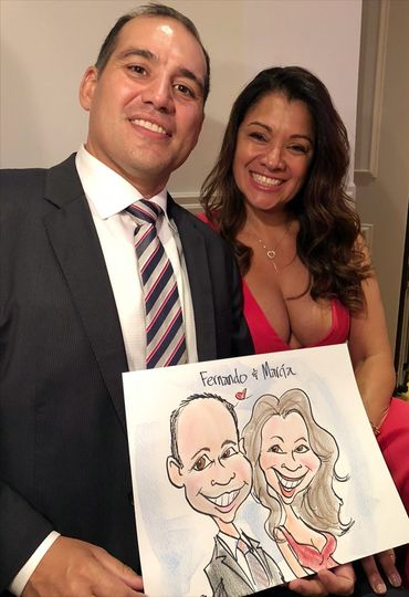 Live color wedding caricature two
