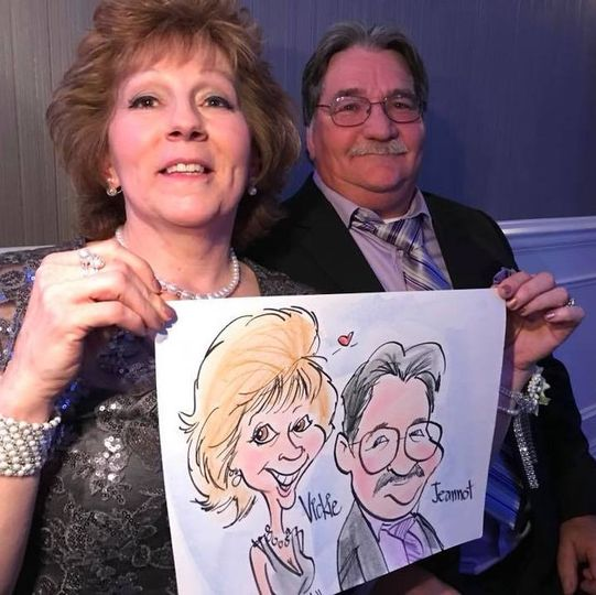 Live color wedding caricature nine