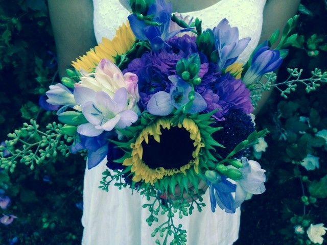 summer purple with sunflowers
