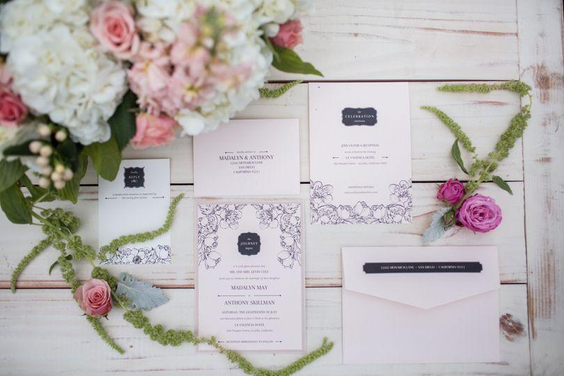 A modern take on floral wedding invitations