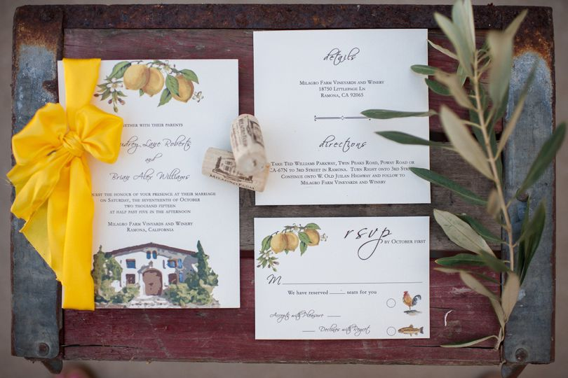 Tuscan watercolor inspired wedding invitations