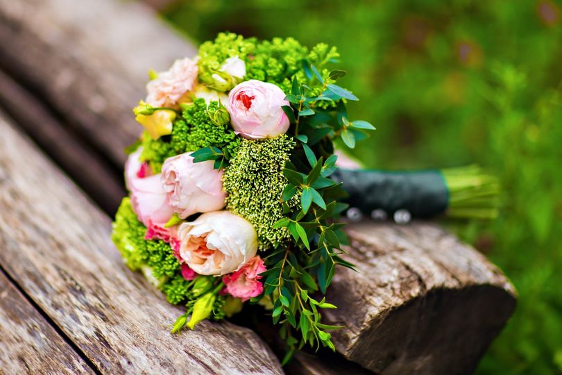 Vibrant green and pink bouquet