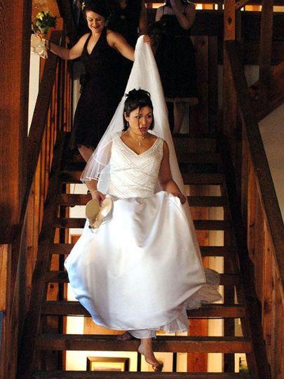 Bride in a white wedding gown