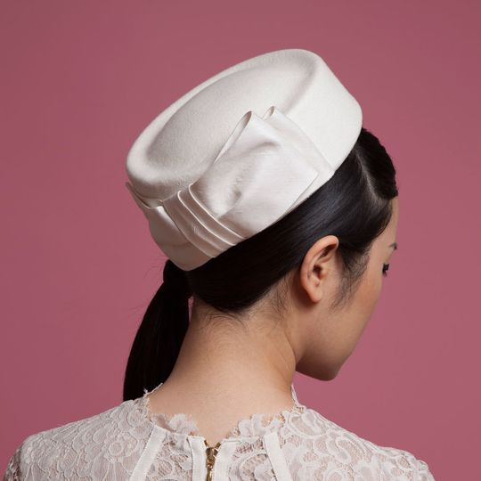 Vintage inspired felt pillbox hat with large taffeta bow - 'Cecelia' - by Cappellino Millinery
