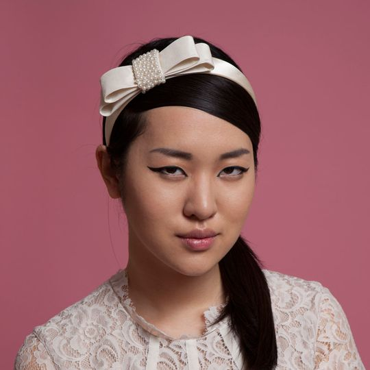 1960s inspired silk satin bridal headband with pearl beaded center - 'Ann' - by Cappellino Millinery