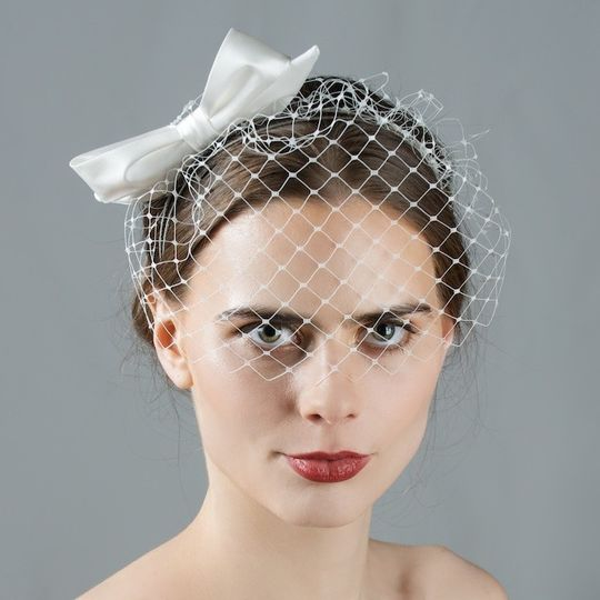 English birdcage veil with silk satin bow - 'Josephine' - by Cappellino Millinery