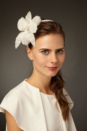 """Beaded bridal headband with hand-made silk orchid - """"Anglica"""" - by Cappellino Millinery"""