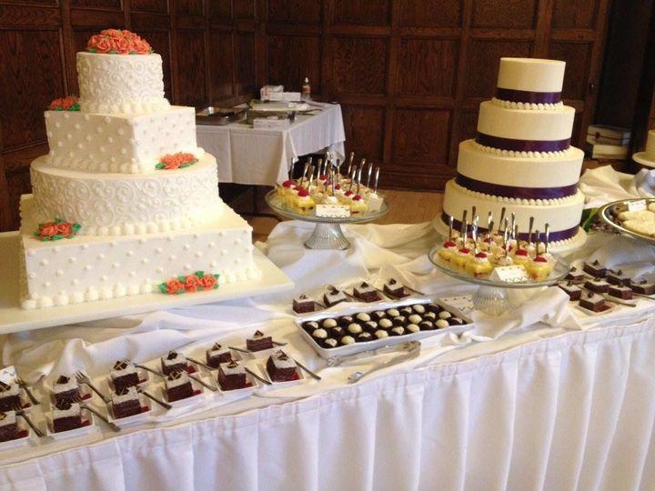 Wedding cake with desserts
