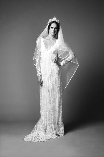 Long Jessamine Dress, Long Heart Shaped Veil