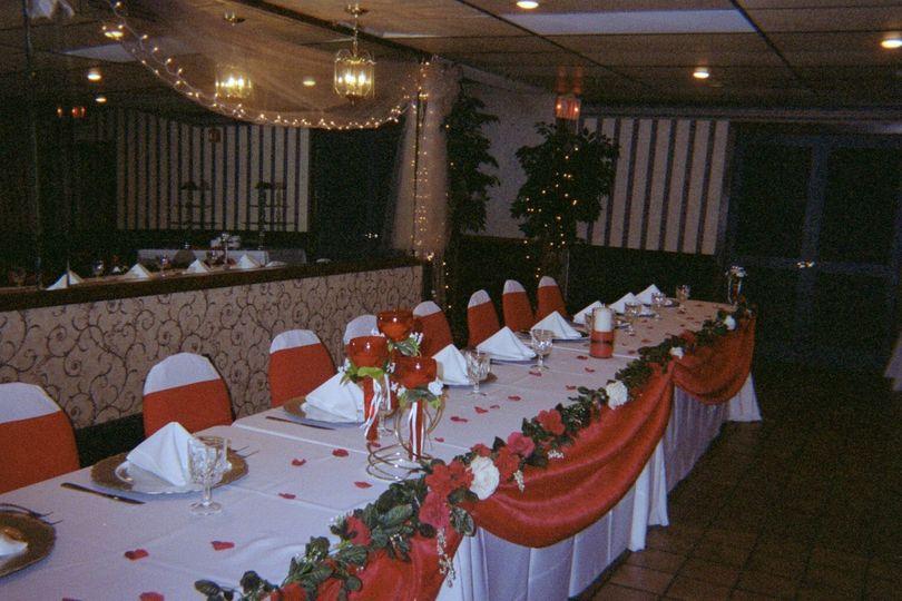 Long dining table setup