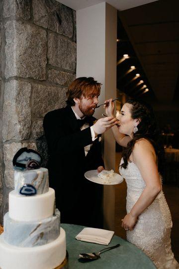 Feeding each other cake