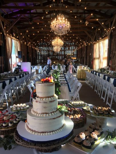 Wedding cake and reception hall