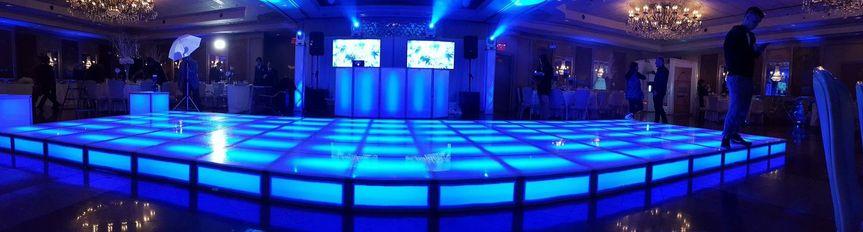 Dance floor in blue lights