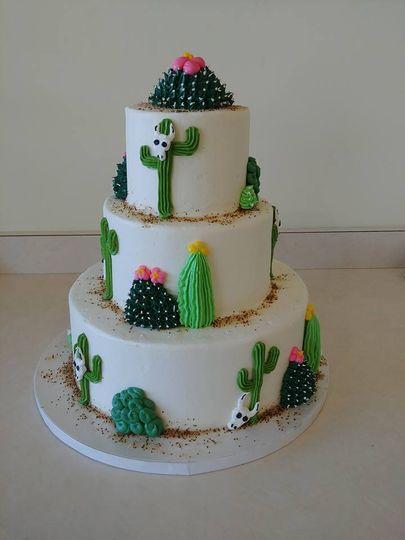 3-tier cacti wedding cake
