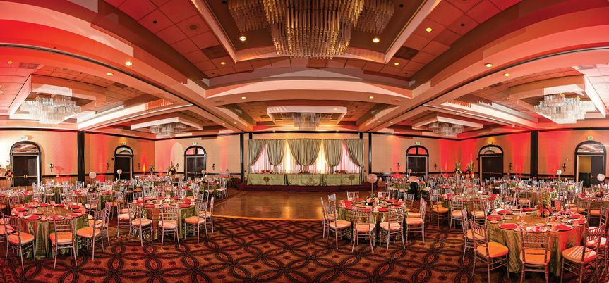 Wedding reception with head table at the center