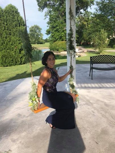 Bridesmaid on a swing