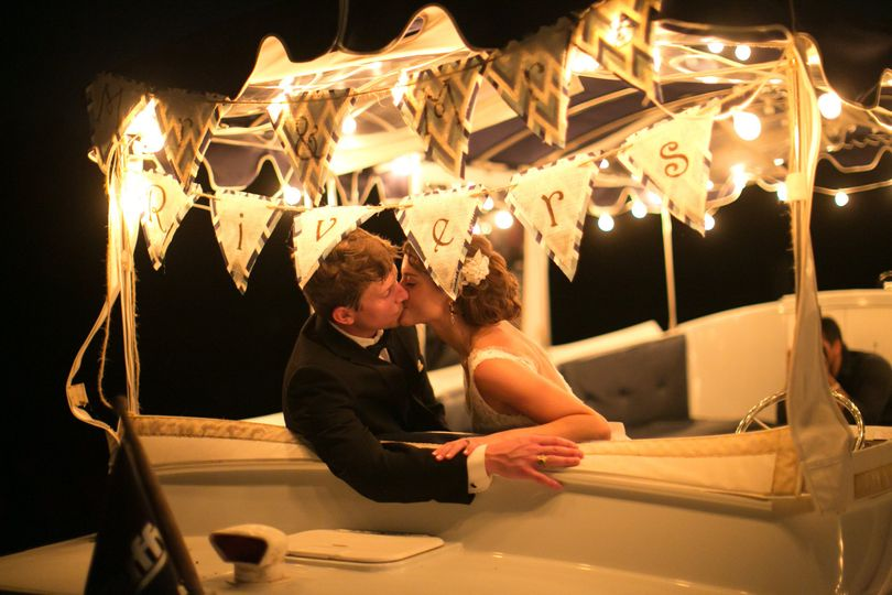 Romantic evening kiss