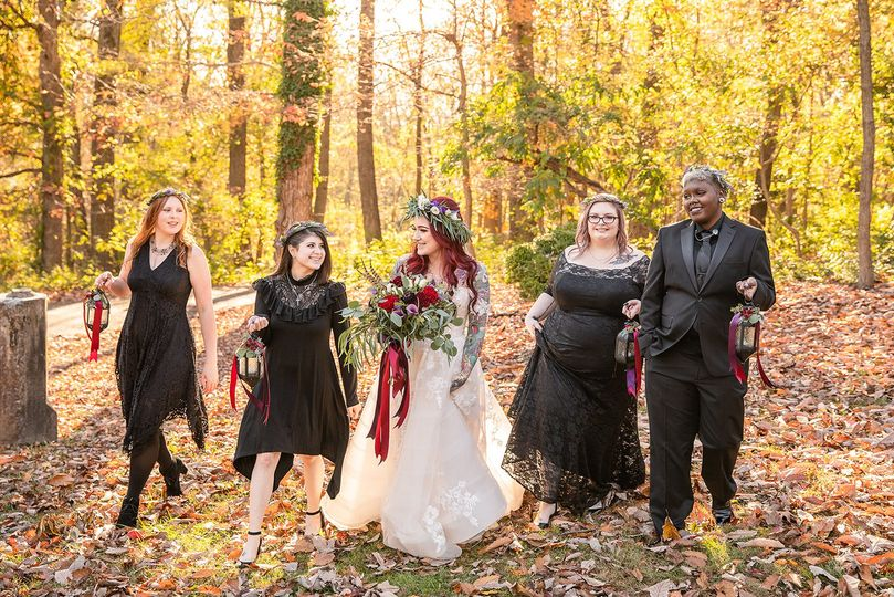 Bridal party on grounds