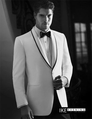 Check this eye-candy. This is the White 'Waverly' slim fit tuxedo jacket. It's one-button,...